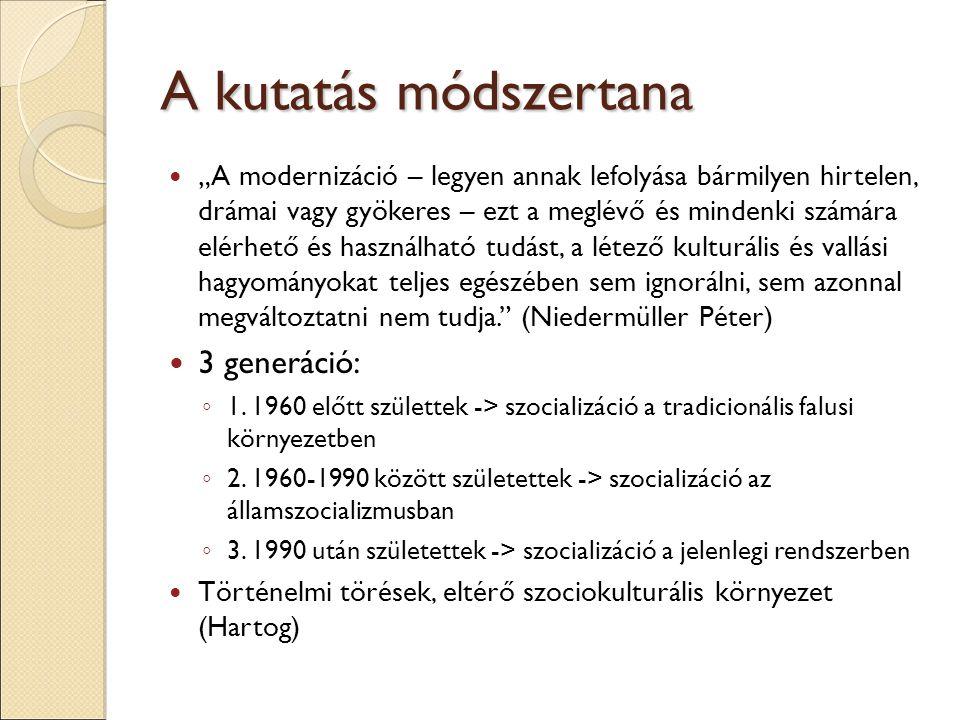 """A kutatás módszertana """"A modernizáció – legyen annak lefolyása bármilyen hirtelen, drámai vagy gyökeres – ezt a meglévő és mindenki számára elérhető és használható tudást, a létező kulturális és vallási hagyományokat teljes egészében sem ignorálni, sem azonnal megváltoztatni nem tudja. (Niedermüller Péter) 3 generáció: ◦ 1."""