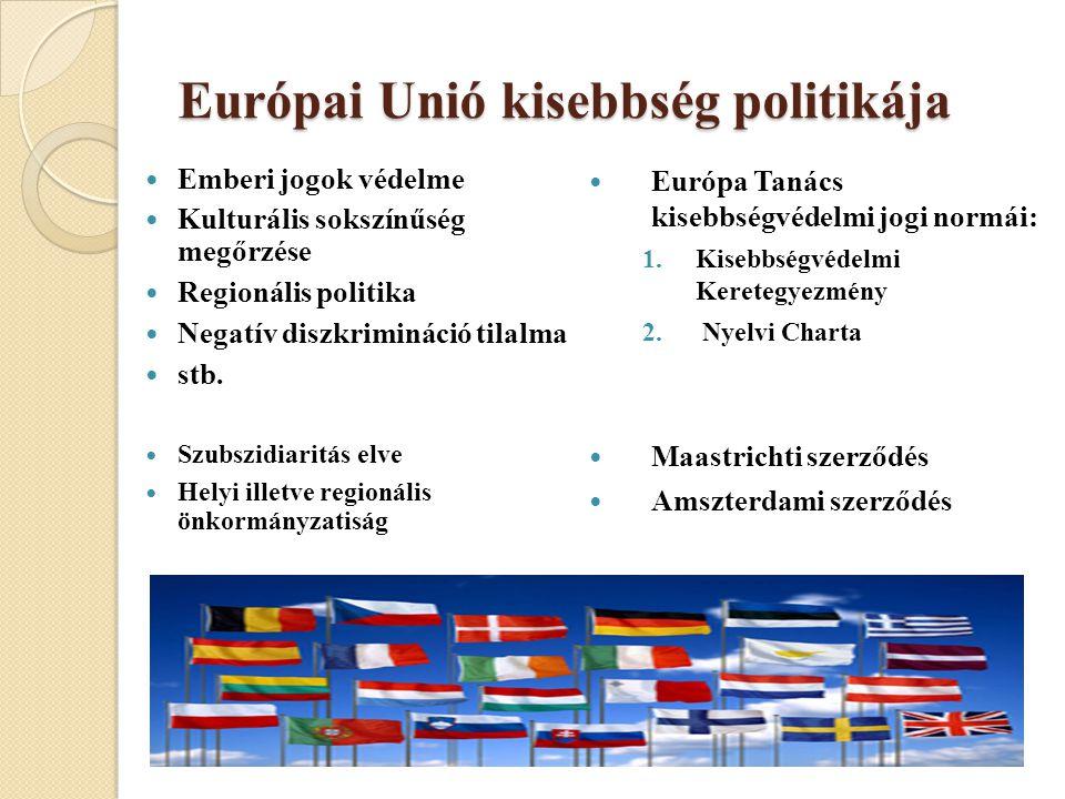Európai Unió kisebbség politikája Emberi jogok védelme Kulturális sokszínűség megőrzése Regionális politika Negatív diszkrimináció tilalma stb.