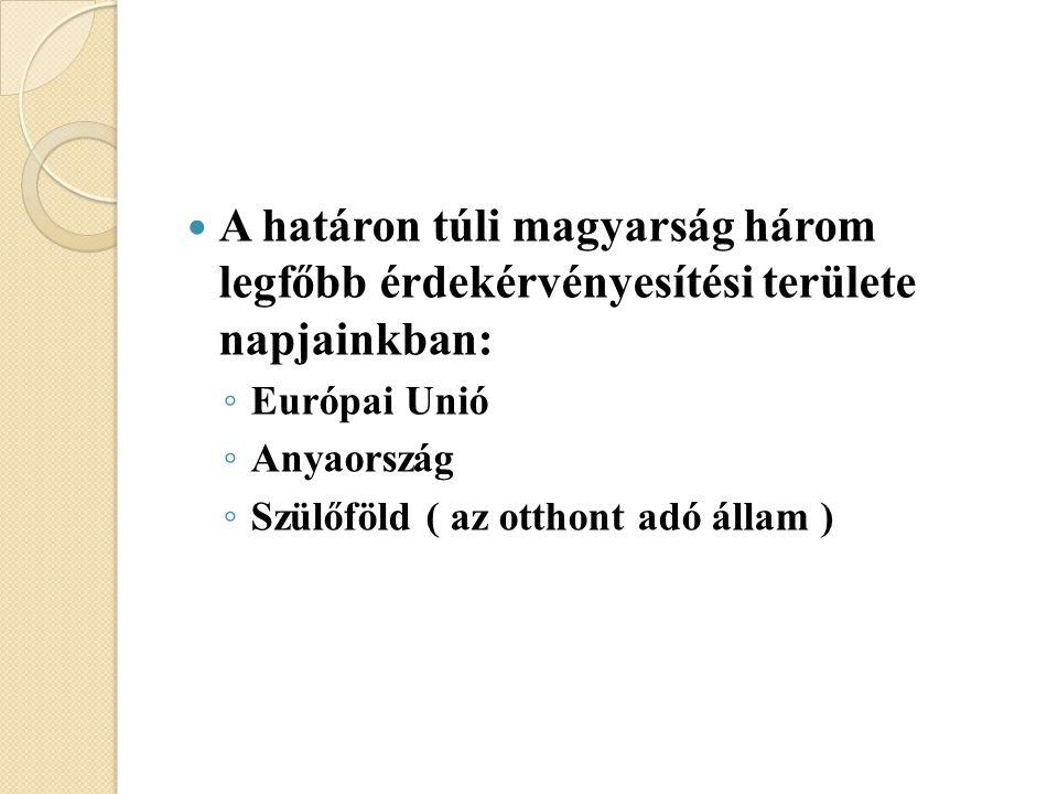 A határon túli magyarság három legfőbb érdekérvényesítési területe napjainkban: ◦ Európai Unió ◦ Anyaország ◦ Szülőföld ( az otthont adó állam )