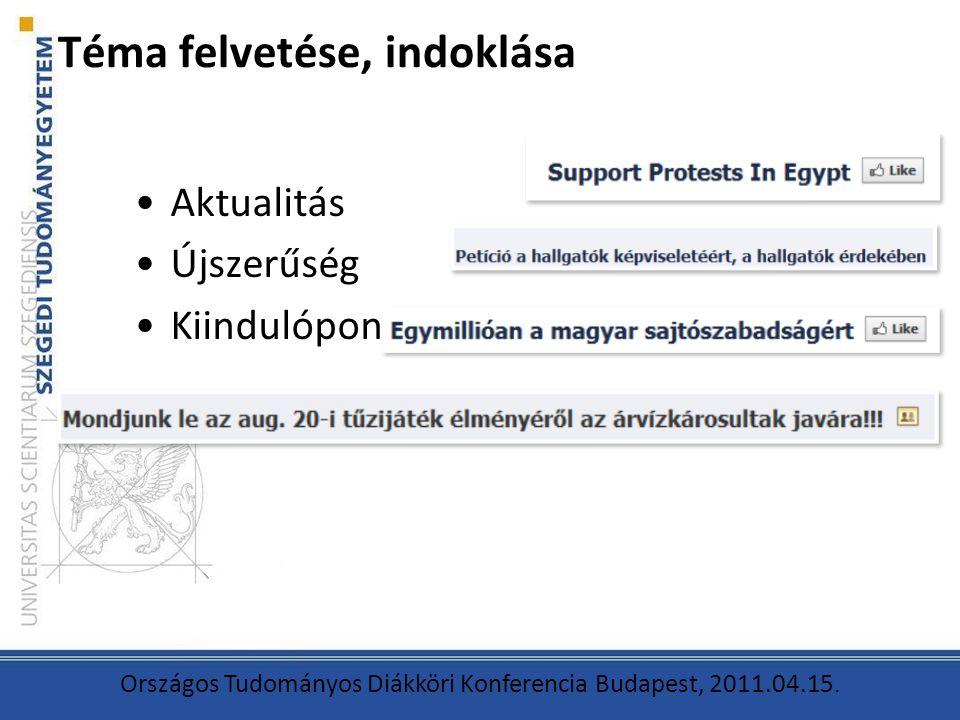 Téma felvetése, indoklása Aktualitás Újszerűség Kiindulópont Országos Tudományos Diákköri Konferencia Budapest, 2011.04.15.