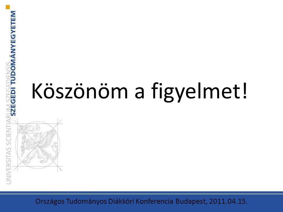Köszönöm a figyelmet!. Országos Tudományos Diákköri Konferencia Budapest, 2011.04.15.