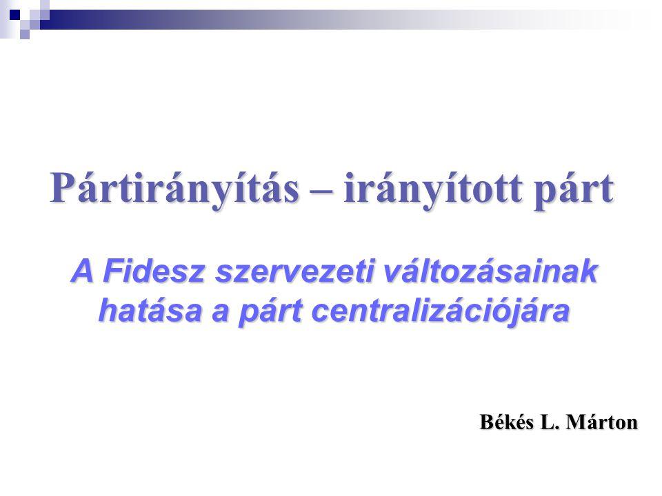 Pártirányítás – irányított párt A Fidesz szervezeti változásainak hatása a párt centralizációjára Békés L.