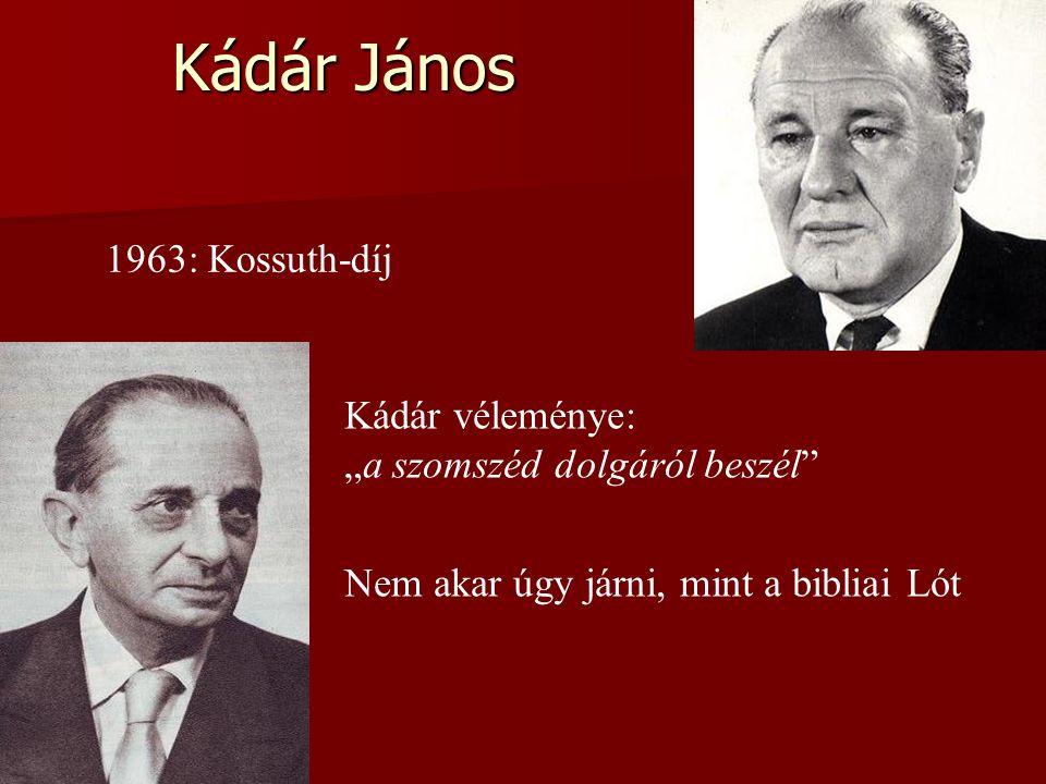 """Kádár János 1963: Kossuth-díj Kádár véleménye: """"a szomszéd dolgáról beszél Nem akar úgy járni, mint a bibliai Lót"""