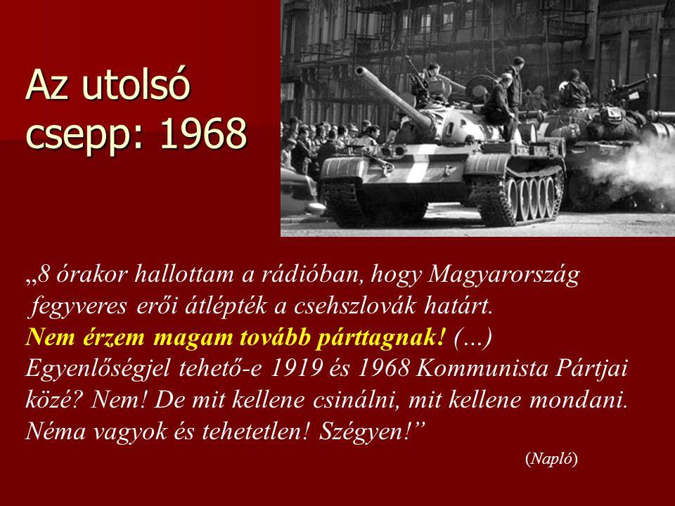 """Az utolsó csepp: 1968 """"8 órakor hallottam a rádióban, hogy Magyarország fegyveres erői átlépték a csehszlovák határt. Nem érzem magam tovább párttagna"""