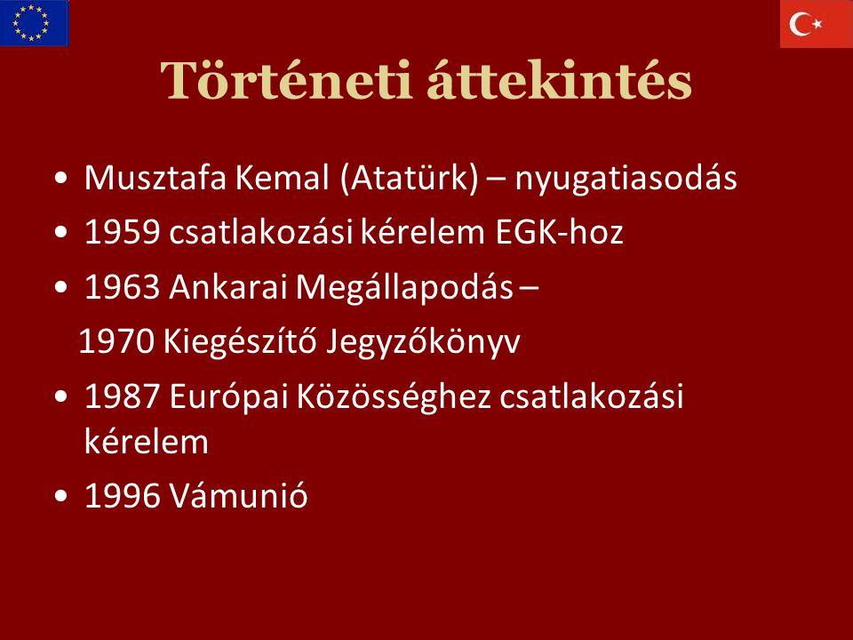 Történeti áttekintés Musztafa Kemal (Atatürk) – nyugatiasodás 1959 csatlakozási kérelem EGK-hoz 1963 Ankarai Megállapodás – 1970 Kiegészítő Jegyzőkönyv 1987 Európai Közösséghez csatlakozási kérelem 1996 Vámunió