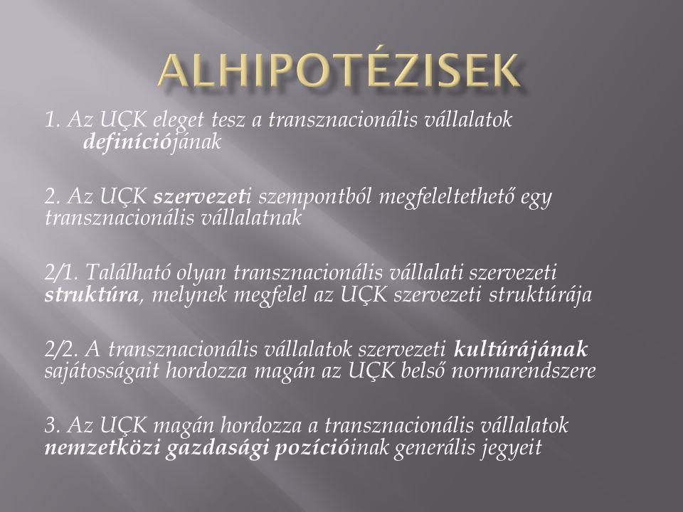 1. Az UÇK eleget tesz a transznacionális vállalatok definíció jának 2. Az UÇK szervezet i szempontból megfeleltethető egy transznacionális vállalatnak