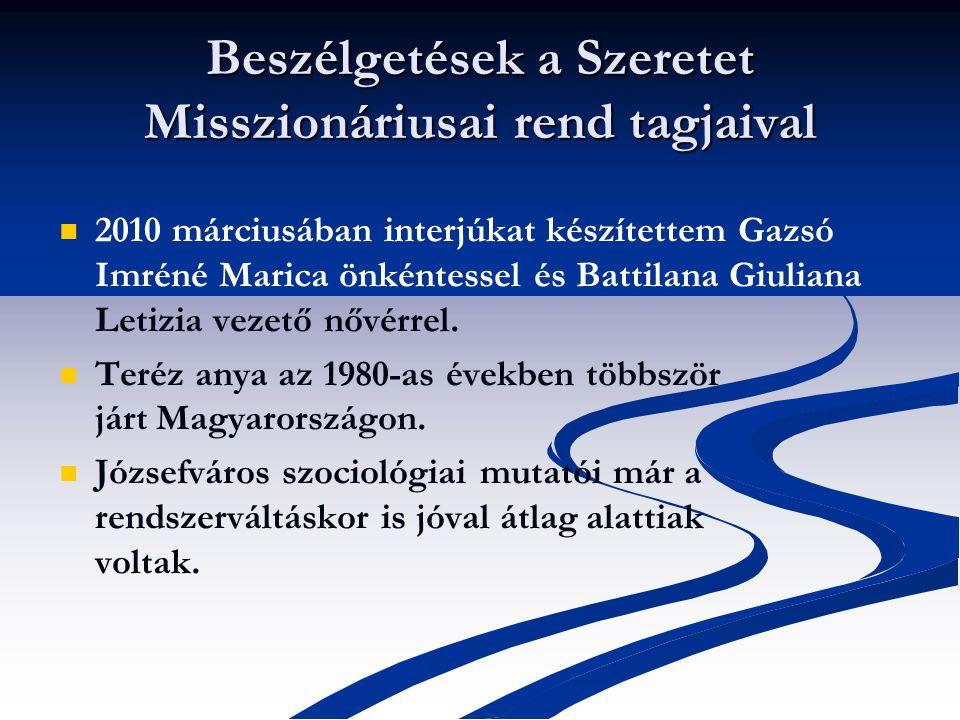 Beszélgetések a Szeretet Misszionáriusai rend tagjaival 2010 márciusában interjúkat készítettem Gazsó Imréné Marica önkéntessel és Battilana Giuliana Letizia vezető nővérrel.