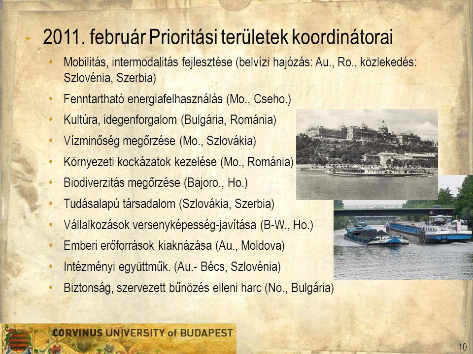 -2011. február Prioritási területek koordinátorai Mobilitás, intermodalitás fejlesztése (belvízi hajózás: Au., Ro., közlekedés: Szlovénia, Szerbia) Fe