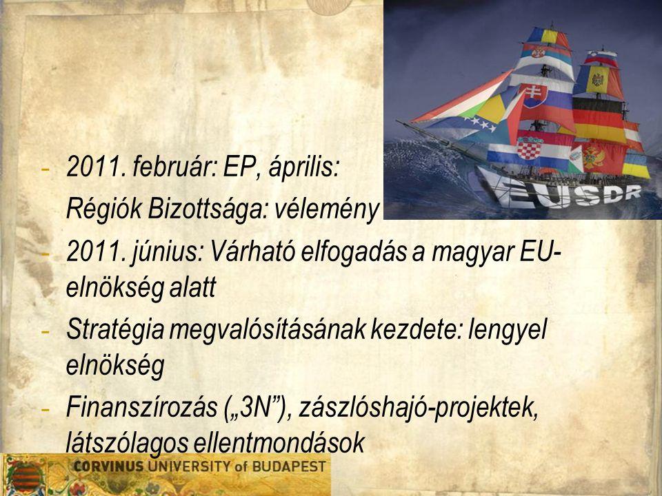 - 2011. február: EP, április: Régiók Bizottsága: vélemény - 2011. június: Várható elfogadás a magyar EU- elnökség alatt - Stratégia megvalósításának k