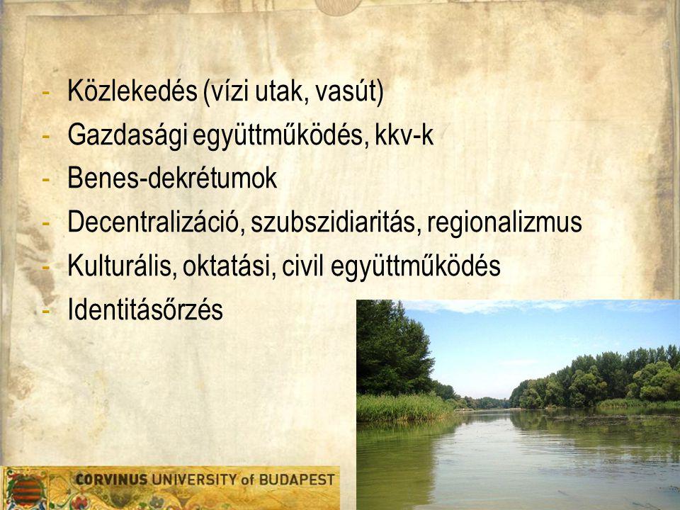 -Közlekedés (vízi utak, vasút) -Gazdasági együttműködés, kkv-k -Benes-dekrétumok -Decentralizáció, szubszidiaritás, regionalizmus -Kulturális, oktatás