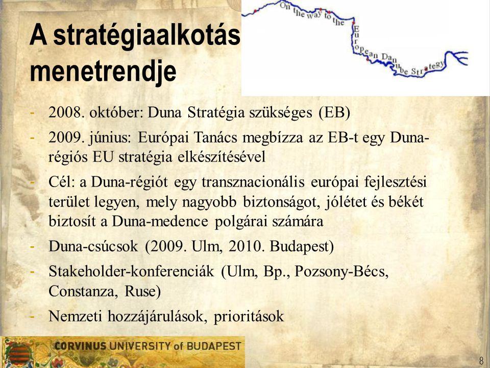 A stratégiaalkotás menetrendje - 2008. október: Duna Stratégia szükséges (EB) - 2009. június: Európai Tanács megbízza az EB-t egy Duna- régiós EU stra