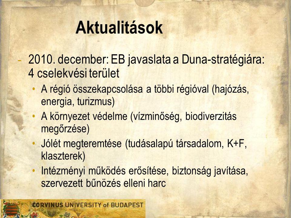 Aktualitások - 2010. december: EB javaslata a Duna-stratégiára: 4 cselekvési terület A régió összekapcsolása a többi régióval (hajózás, energia, turiz