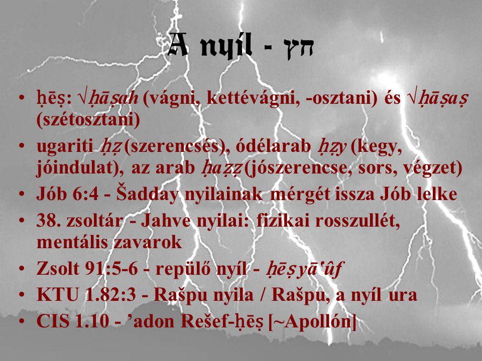 A nyíl - חץ ḥ ē ṣ : √ ḥ ā ṣ ah (vágni, kettévágni, -osztani) és √ ḥ ā ṣ a ṣ (szétosztani) ugariti ḥẓ (szerencsés), ódélarab ḥẓ y (kegy, jóindulat), az arab ḥ a ẓẓ (jószerencse, sors, végzet) Jób 6:4 - Šadday nyilainak mérgét issza Jób lelke 38.