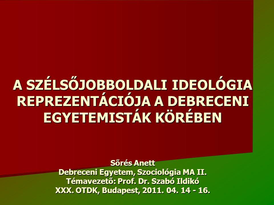 A SZÉLSŐJOBBOLDALI IDEOLÓGIA REPREZENTÁCIÓJA A DEBRECENI EGYETEMISTÁK KÖRÉBEN Sőrés Anett Debreceni Egyetem, Szociológia MA II. Témavezető: Prof. Dr.