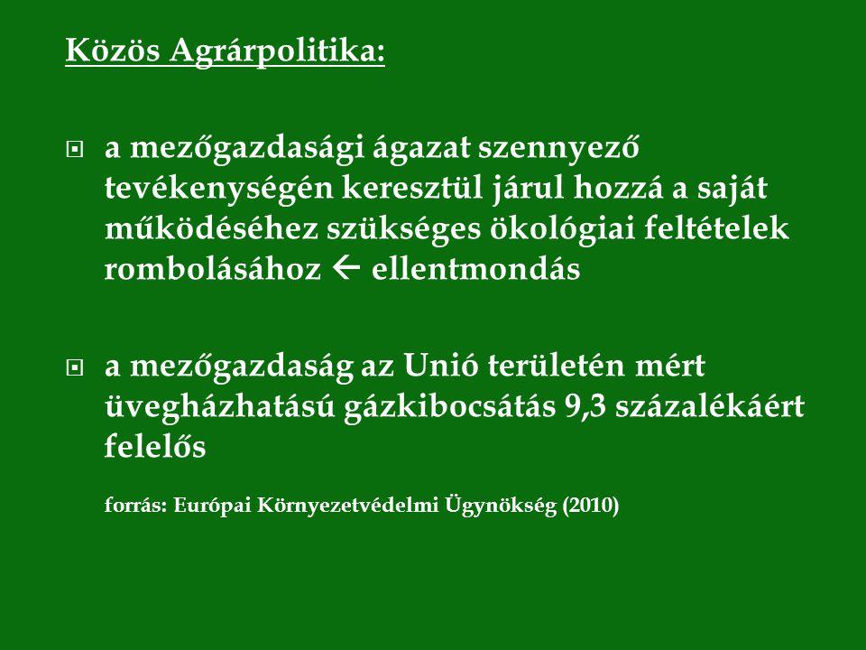 Közös Agrárpolitika:  a mezőgazdasági ágazat szennyező tevékenységén keresztül járul hozzá a saját működéséhez szükséges ökológiai feltételek rombolásához  ellentmondás  a mezőgazdaság az Unió területén mért üvegházhatású gázkibocsátás 9,3 százalékáért felelős forrás: Európai Környezetvédelmi Ügynökség (2010)