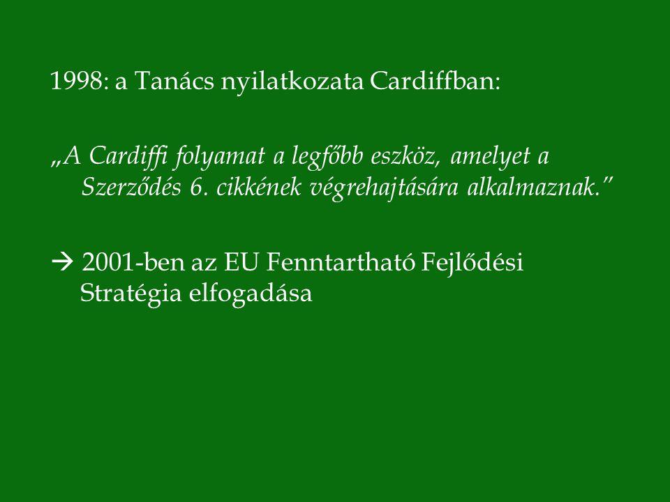"""1998: a Tanács nyilatkozata Cardiffban: """" A Cardiffi folyamat a legfőbb eszköz, amelyet a Szerződés 6."""