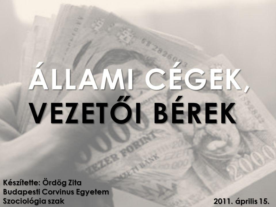 ÁLLAMI CÉGEK, VEZETŐI BÉREK Készítette: Ördög Zita Budapesti Corvinus Egyetem Szociológia szak 2011.