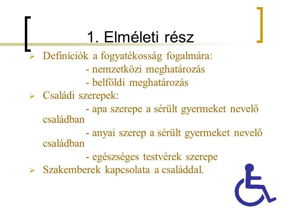 1. Elméleti rész  Definíciók a fogyatékosság fogalmára: - nemzetközi meghatározás - belföldi meghatározás  Családi szerepek: - apa szerepe a sérült