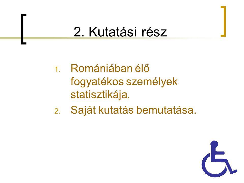 2. Kutatási rész 1. Romániában élő fogyatékos személyek statisztikája. 2. Saját kutatás bemutatása.