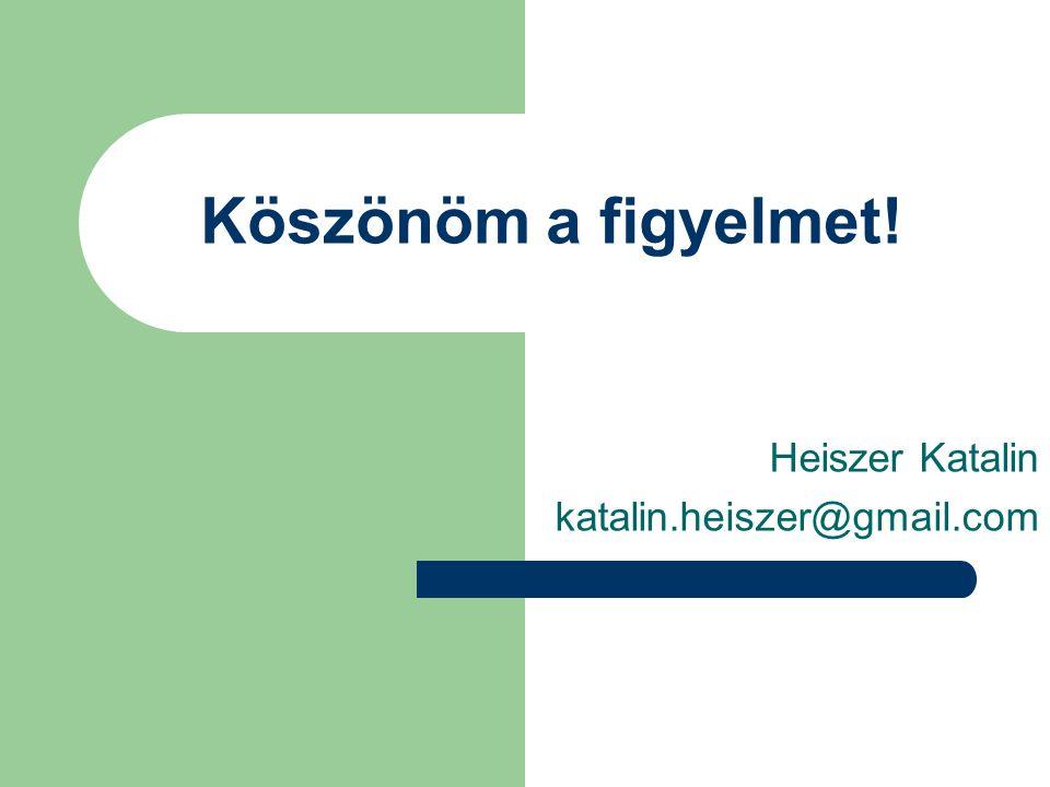 Köszönöm a figyelmet! Heiszer Katalin katalin.heiszer@gmail.com