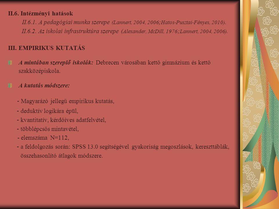 II.6.Intézményi hatások II.6.1.