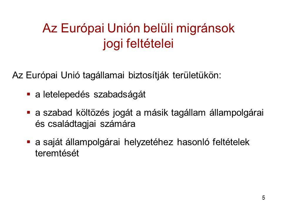 5 Az Európai Unión belüli migránsok jogi feltételei Az Európai Unió tagállamai biztosítják területükön:  a letelepedés szabadságát  a szabad költözés jogát a másik tagállam állampolgárai és családtagjai számára  a saját állampolgárai helyzetéhez hasonló feltételek teremtését
