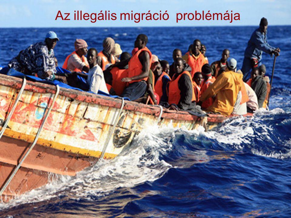 8  Az Európai Bizottság becslései alapján legalább 4,5 millió illegális bevándorló tartózkodik az Európai Unió területén  Kétféle megoldás:  a tartózkodás legálissá tétele  visszatérítés a kibocsátó országba  Embercsempészet, emberkereskedelem (évente kb.