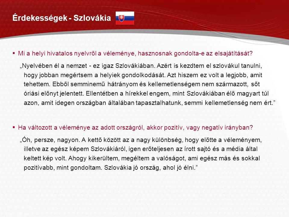 Page  12 Érdekességek - Szlovákia  Mi a helyi hivatalos nyelvről a véleménye, hasznosnak gondolta-e az elsajátítását.