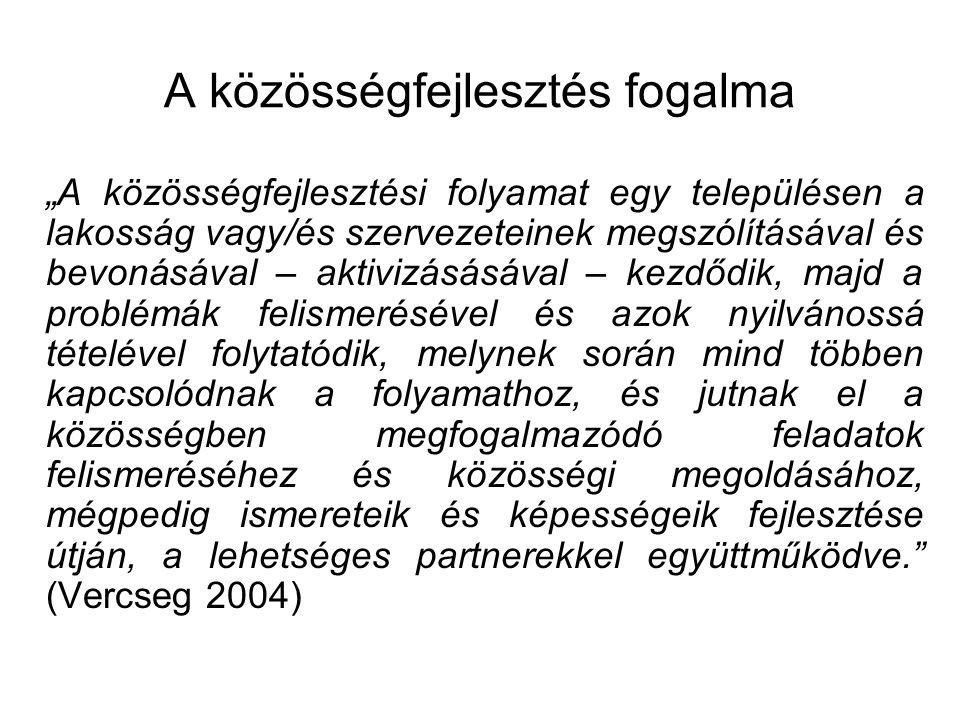 A közösségfejlesztés szakaszai 1.Új mozgások létrehozása 2.Helyzet feltárása 3.Közösség véleményének, cselekvési akciójának feltárása és problémák mellérendelése 4.Feltáró feladatok közös rangsorolása és cselekvési ütemterv elkészítése 5.Intézményépítés 6.Hálózatépítés 7.Koordinálás