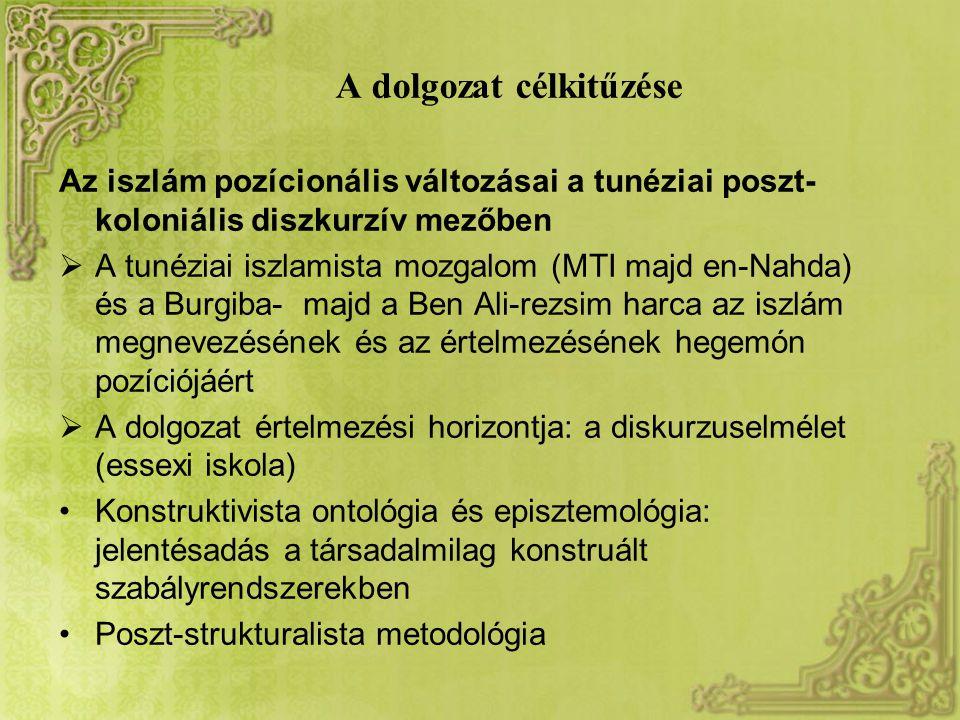 A dolgozat célkitűzése Az iszlám pozícionális változásai a tunéziai poszt- koloniális diszkurzív mezőben  A tunéziai iszlamista mozgalom (MTI majd en-Nahda) és a Burgiba- majd a Ben Ali-rezsim harca az iszlám megnevezésének és az értelmezésének hegemón pozíciójáért  A dolgozat értelmezési horizontja: a diskurzuselmélet (essexi iskola) Konstruktivista ontológia és episztemológia: jelentésadás a társadalmilag konstruált szabályrendszerekben Poszt-strukturalista metodológia