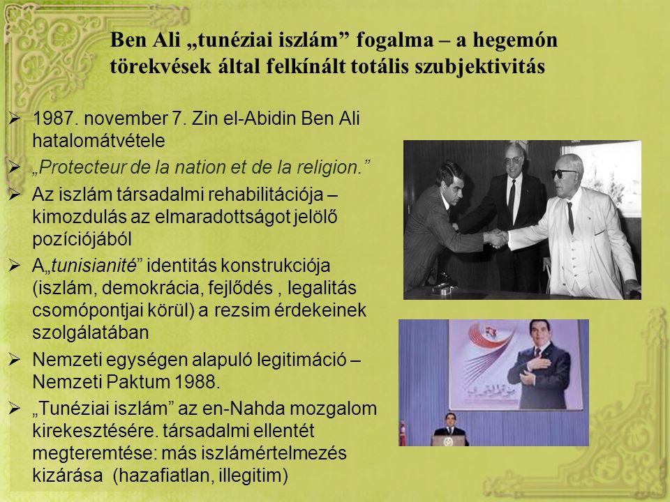 """Ben Ali """"tunéziai iszlám fogalma – a hegemón törekvések által felkínált totális szubjektivitás  1987."""