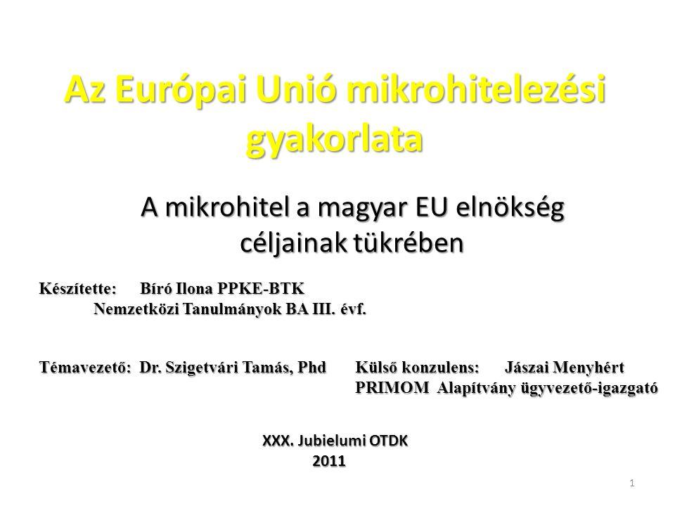 Az Európai Unió mikrohitelezési gyakorlata A mikrohitel a magyar EU elnökség céljainak tükrében Készítette: Bíró Ilona PPKE-BTK Nemzetközi Tanulmányok