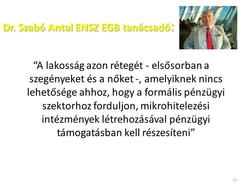 """Dr. Szabó Antal ENSZ EGB tanácsadó : """"A lakosság azon rétegét - elsősorban a szegényeket és a nőket -, amelyiknek nincs lehetősége ahhoz, hogy a formá"""