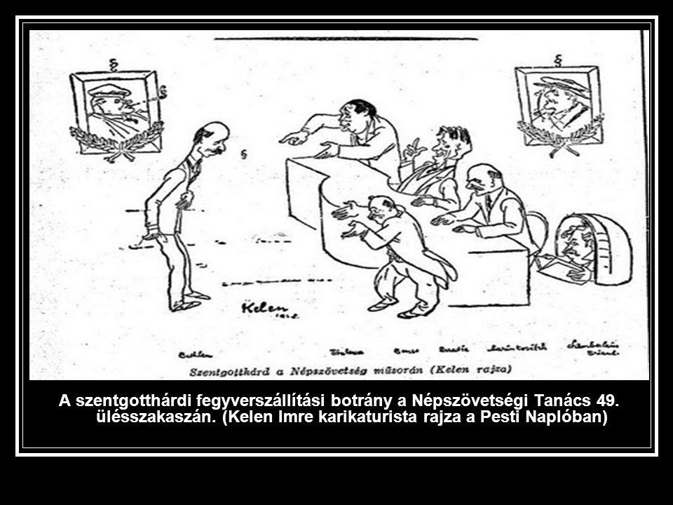 A szentgotthárdi fegyverszállítási botrány a Népszövetségi Tanács 49. ülésszakaszán. (Kelen Imre karikaturista rajza a Pesti Naplóban)