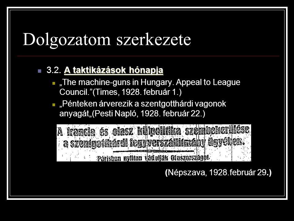 """Dolgozatom szerkezete A taktikázások hónapja 3.2. A taktikázások hónapja """"The machine-guns in Hungary. Appeal to League Council.""""(Times, 1928. február"""