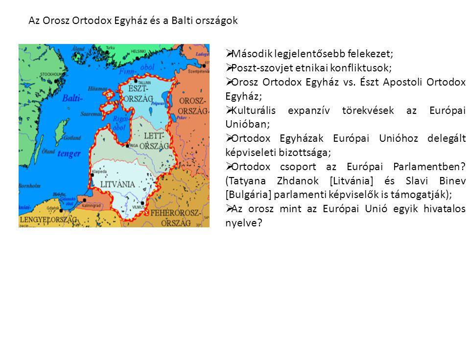 Az Orosz Ortodox Egyház és a Balti országok  Második legjelentősebb felekezet;  Poszt-szovjet etnikai konfliktusok;  Orosz Ortodox Egyház vs.