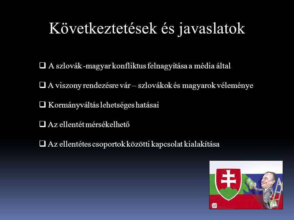 Következtetések és javaslatok A szlovák -magyar konfliktus felnagyítása a média által  A szlovák -magyar konfliktus felnagyítása a média által  A vi