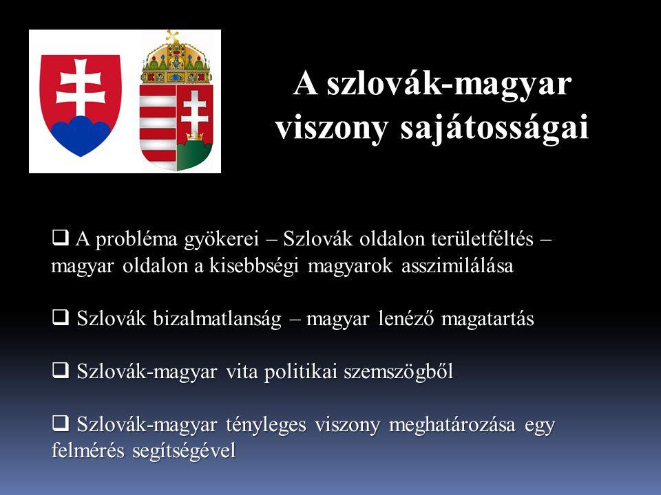 A szlovák-magyar viszony sajátosságai A probléma gyökerei – Szlovák oldalon területféltés – magyar oldalon a kisebbségi magyarok asszimilálása  A pro