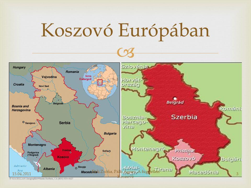  Koszovó Európában 15.04.20113 Deli Zsófia, Pálfi Ágnes: A független Koszovó