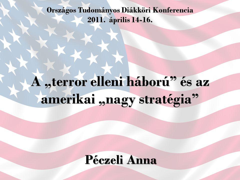 """Témafelvetés  Fő tézis: A """"terror elleni háború az Egyesült Államok """"nagy stratégiájaként indult, 2006-ra azonban az összes pillére bedőlt és nyilvánvalóvá vált, hogy ilyen formában nem folytatható tovább."""