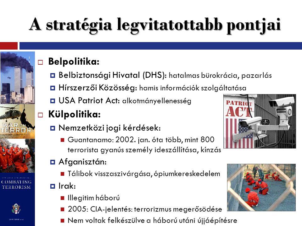 A stratégia legvitatottabb pontjai  Belpolitika:  Belbiztonsági Hivatal (DHS): hatalmas bürokrácia, pazarlás  Hírszerzői Közösség: hamis információk szolgáltatása  USA Patriot Act: alkotmányellenesség  Külpolitika:  Nemzetközi jogi kérdések: Guantanamo: 2002.