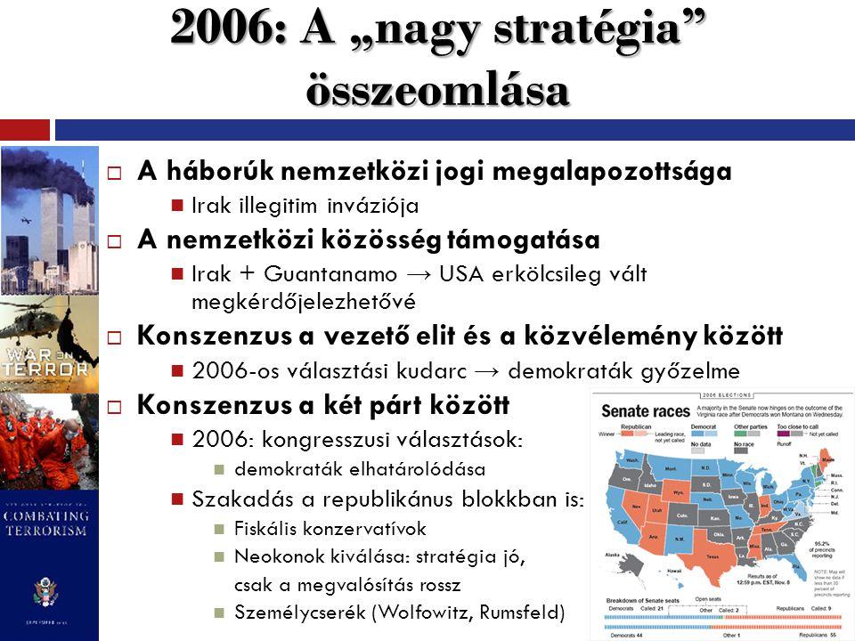 """2006: A """"nagy stratégia összeomlása  A háborúk nemzetközi jogi megalapozottsága Irak illegitim inváziója  A nemzetközi közösség támogatása Irak + Guantanamo → USA erkölcsileg vált megkérdőjelezhetővé  Konszenzus a vezető elit és a közvélemény között 2006-os választási kudarc → demokraták győzelme  Konszenzus a két párt között 2006: kongresszusi választások: demokraták elhatárolódása Szakadás a republikánus blokkban is: Fiskális konzervatívok Neokonok kiválása: stratégia jó, csak a megvalósítás rossz Személycserék (Wolfowitz, Rumsfeld)"""