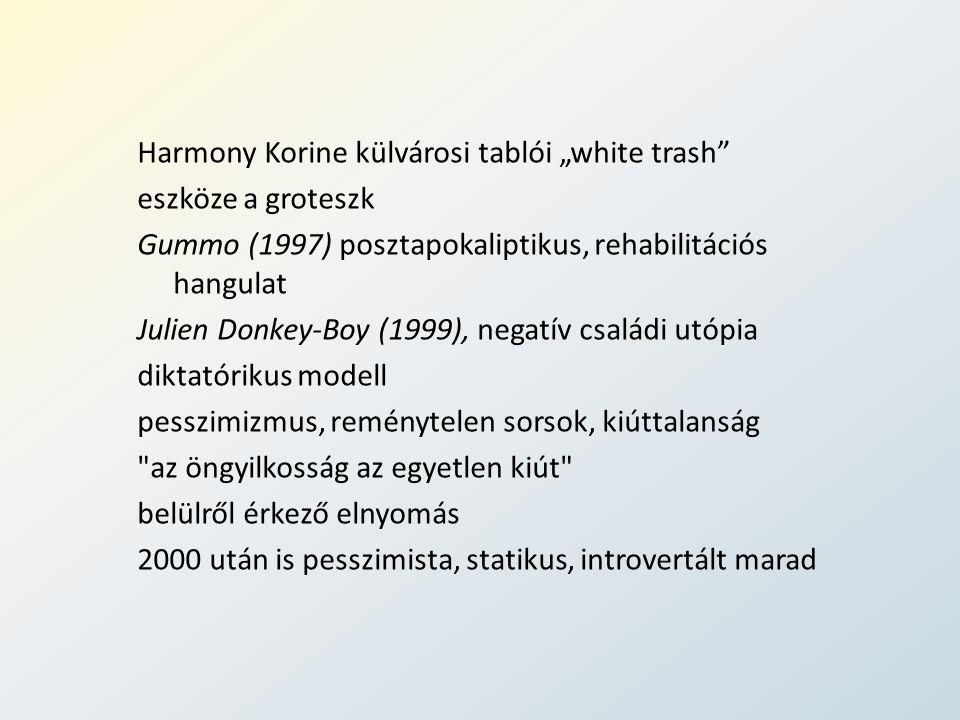 """Harmony Korine külvárosi tablói """"white trash eszköze a groteszk Gummo (1997) posztapokaliptikus, rehabilitációs hangulat Julien Donkey-Boy (1999), negatív családi utópia diktatórikus modell pesszimizmus, reménytelen sorsok, kiúttalanság az öngyilkosság az egyetlen kiút belülről érkező elnyomás 2000 után is pesszimista, statikus, introvertált marad"""