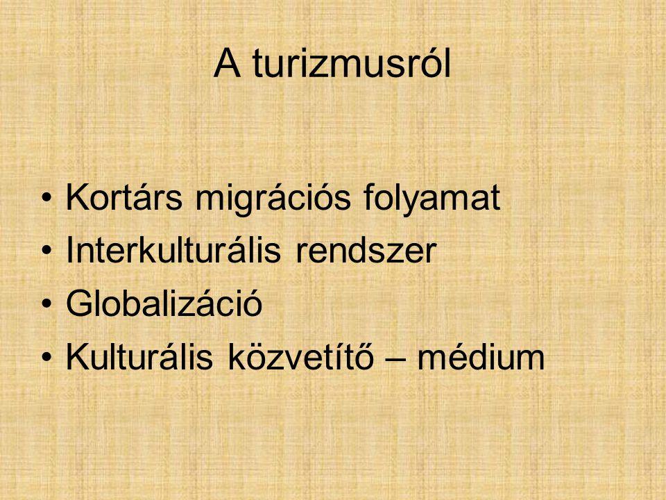 A turizmusról Kortárs migrációs folyamat Interkulturális rendszer Globalizáció Kulturális közvetítő – médium