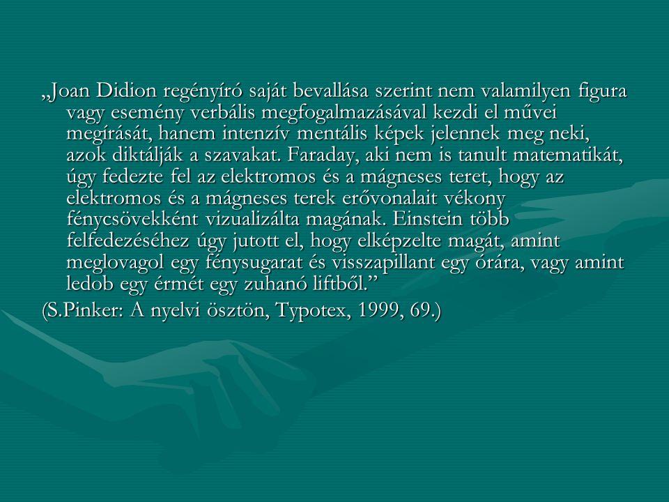 """""""Joan Didion regényíró saját bevallása szerint nem valamilyen figura vagy esemény verbális megfogalmazásával kezdi el művei megírását, hanem intenzív mentális képek jelennek meg neki, azok diktálják a szavakat."""