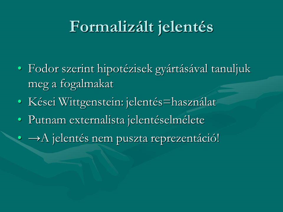 Formalizált jelentés Fodor szerint hipotézisek gyártásával tanuljuk meg a fogalmakatFodor szerint hipotézisek gyártásával tanuljuk meg a fogalmakat Kései Wittgenstein: jelentés=használatKései Wittgenstein: jelentés=használat Putnam externalista jelentéselméletePutnam externalista jelentéselmélete →A jelentés nem puszta reprezentáció!→A jelentés nem puszta reprezentáció!