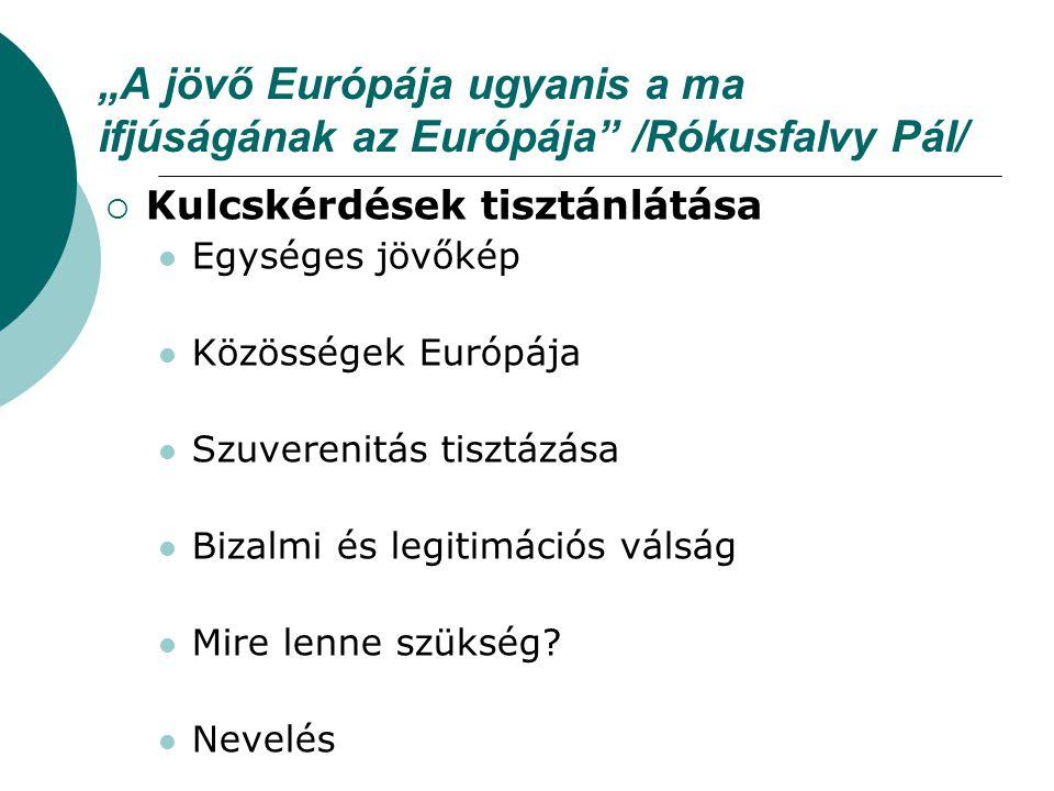 """""""A jövő Európája ugyanis a ma ifjúságának az Európája"""" /Rókusfalvy Pál/  Kulcskérdések tisztánlátása Egységes jövőkép Közösségek Európája Szuverenitá"""