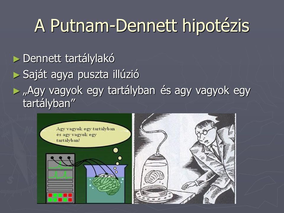 """A Putnam-Dennett hipotézis ► Dennett tartálylakó ► Saját agya puszta illúzió ► """"Agy vagyok egy tartályban és agy vagyok egy tartályban"""