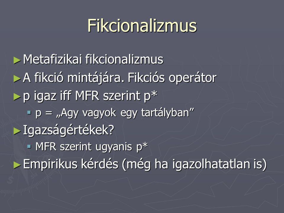 Fikcionalizmus ► Metafizikai fikcionalizmus ► A fikció mintájára.