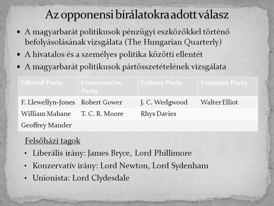 A magyarbarát politikusok pénzügyi eszközökkel történő befolyásolásának vizsgálata (The Hungarian Quarterly) A hivatalos és a személyes politika közöt
